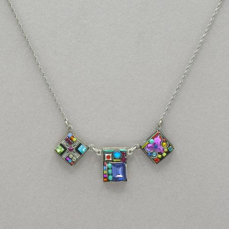 Geometric 3 Square Necklace Multicolor