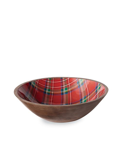 Red Tartan Wood Bowl
