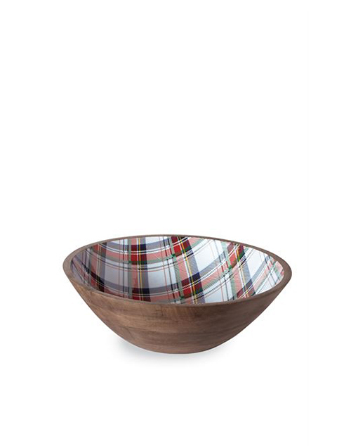 White Tartan Wood Bowl