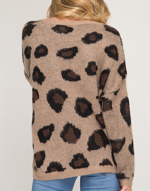 Long Sleeve Leopard Pullover Sweater By She Sky Ish Boutique