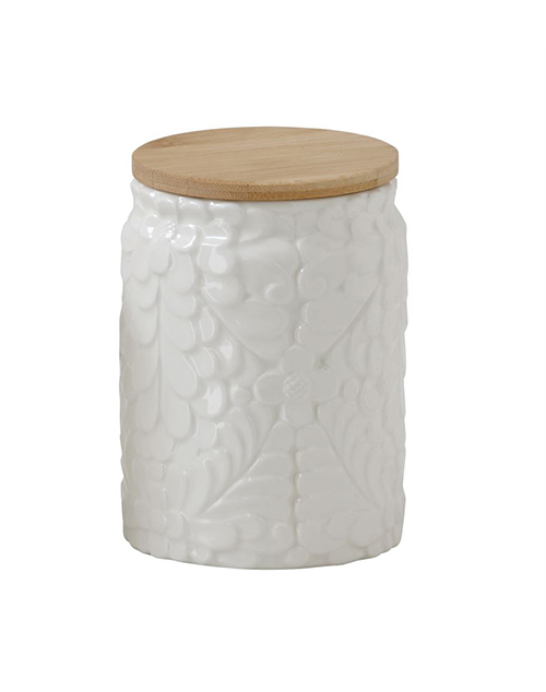 Flower Ceramic Canister W/ Bamboo Wood Lid