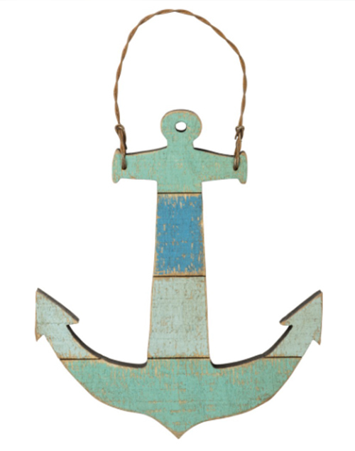 Slat Wood Ornament - Anchor