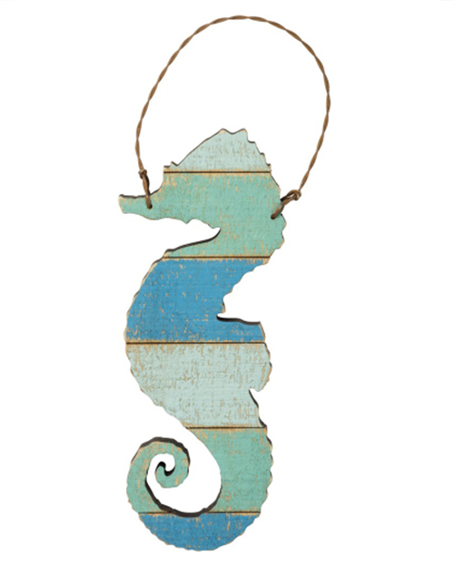 Slat Wood Ornament - Sea Horse