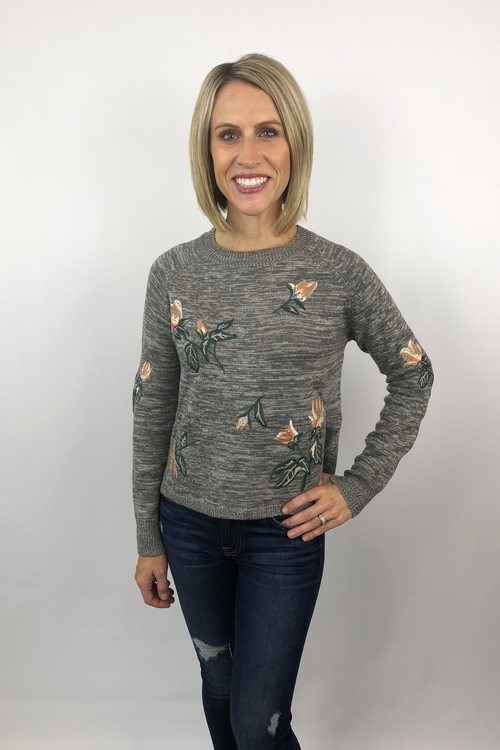 Embroidered Floral Sweater Heather Gray