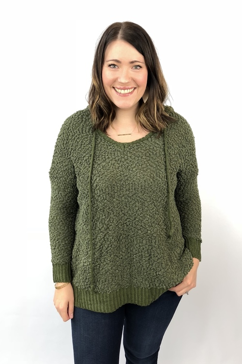 Olive Popcorn Yarn Hooded Pullover