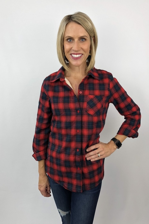 Fur Lined Buffalo Plaid Button Down