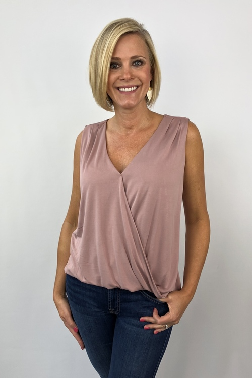 Mauve Cupro Surplice Top