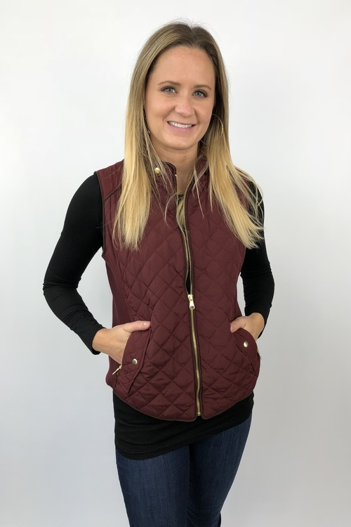 Wine Quilted Vest