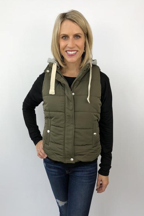 Olive Hooded Puffer Vest