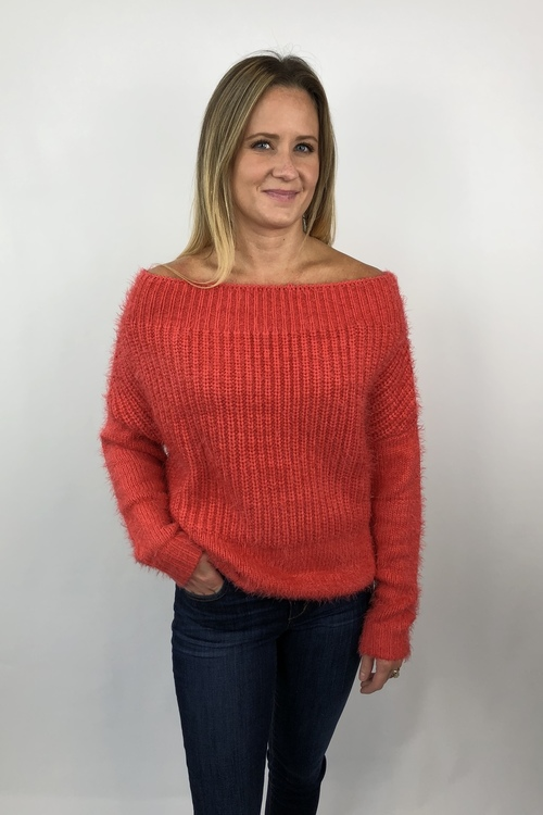 Coral Off Shoulder Eyelash Yarn Sweater