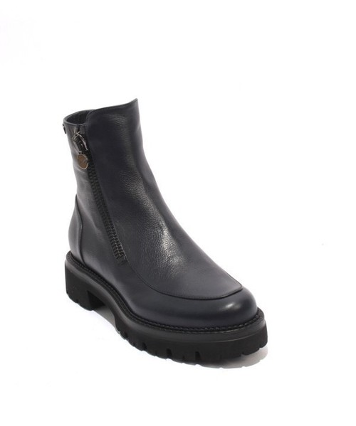 Dark Navy Leather Ankle / Tractor Sole Boots