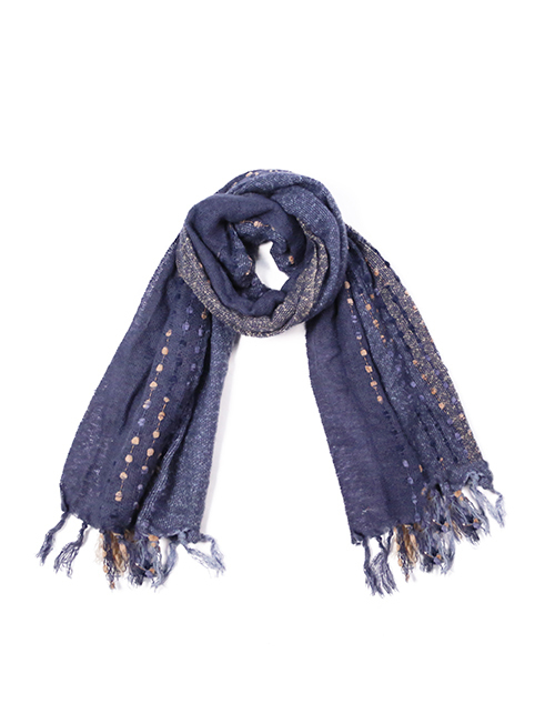 Mix Textured Scarf With Fringe - Navy