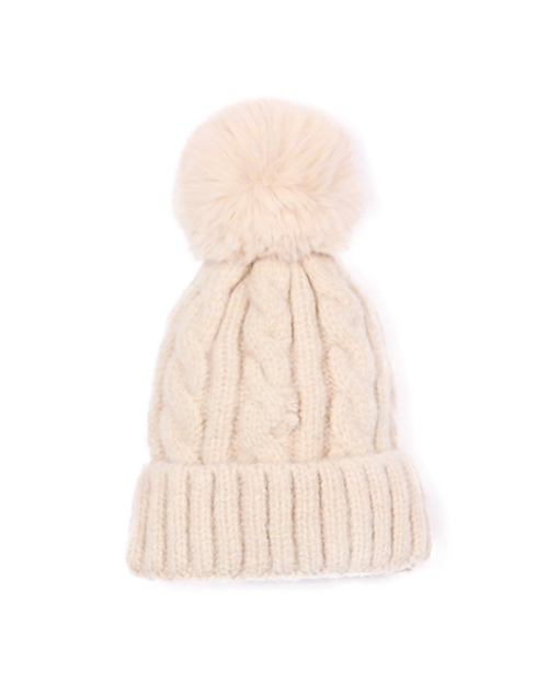 Kids Cable Knit Fold Over Beanie With Pom - Ivory