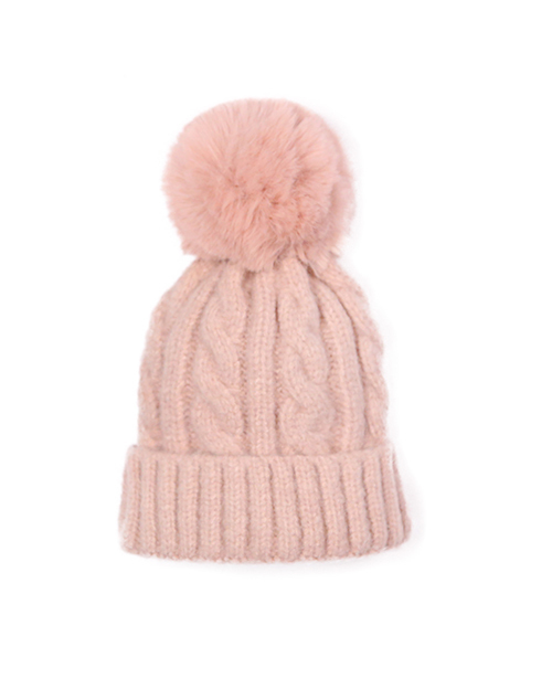 Kids Cable Knit Fold Over Beanie With Pom - Pink