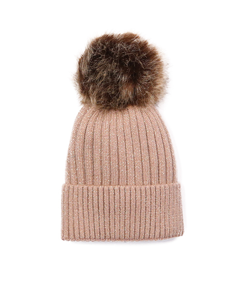 Ribbed Beanie With Detachable Pom - Brown