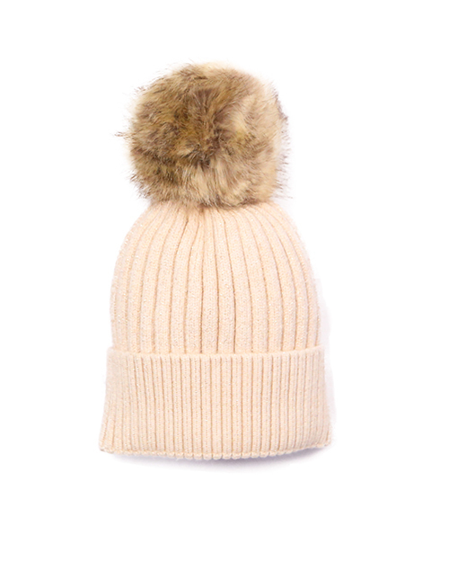 Ribbed Beanie With Detachable Pom - Beige