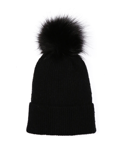 Knit Beanie With Pom - Black
