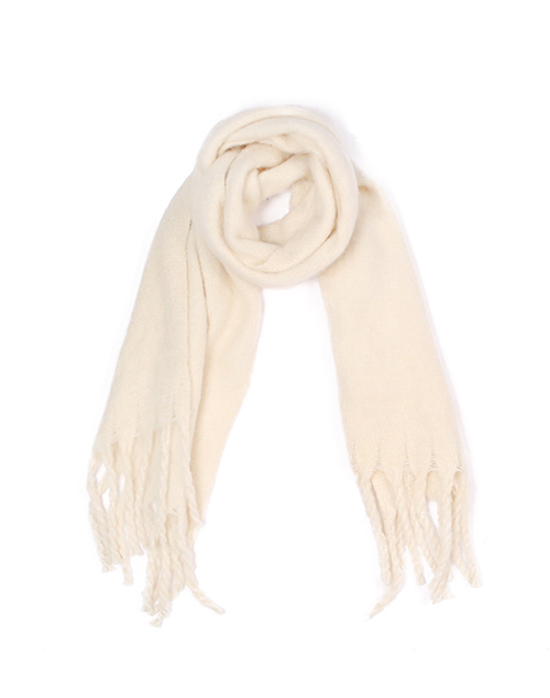 Solid Fuzzy Scarf With Fringe - Ivory
