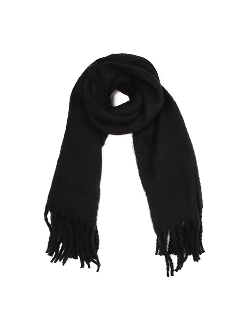Solid Fuzzy Scarf With Fringe - Black