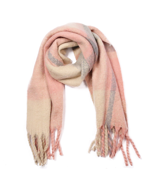 Cozy Color Block Scarf With Fringe- Pink