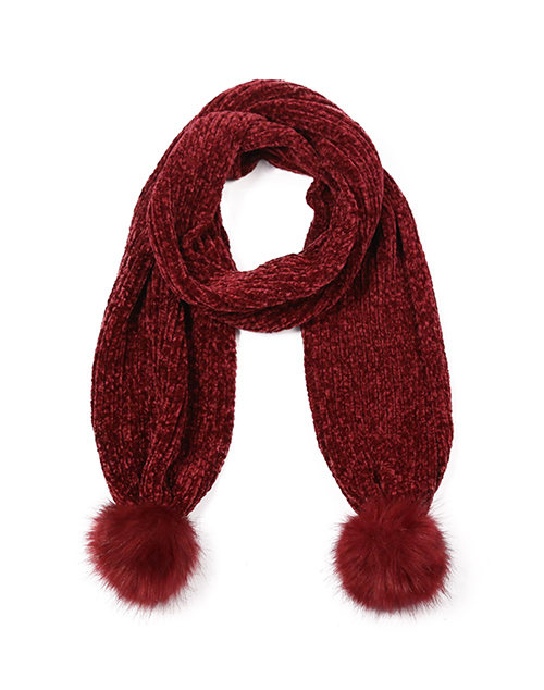Chenille Scarf With Poms - Burgundy
