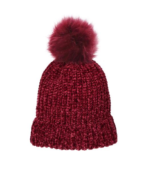 Chenille Pom Hat - Burgundy