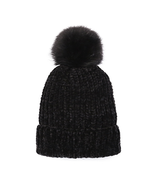 Chenille Pom Hat - Black