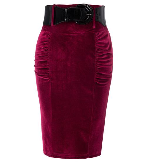 Drusilla Velvet Skirt in Oxblood