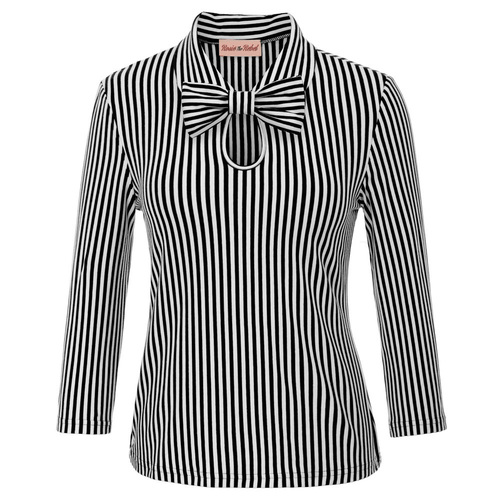 Vivien striped top (removable bow)