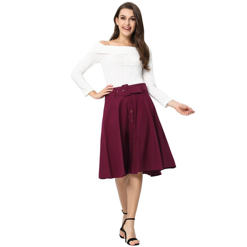 Debbie Flared Skirt (Berry or Black)