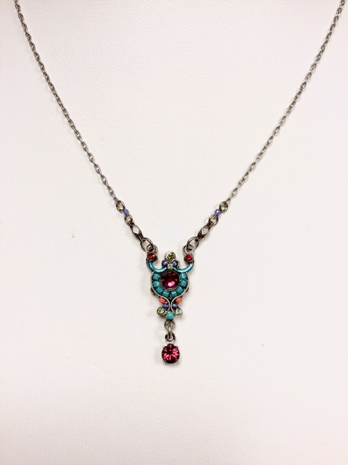 Delicate Victorian Mosaic Necklace with Drop and Arc Multicolor