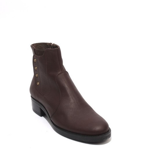 Brown Leather / Elastic / Zip-Up Ankle Heel Boots