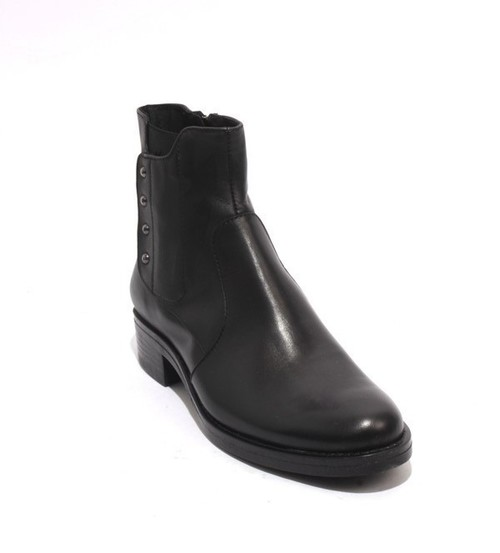 Black Leather / Elastic / Zip-Up Ankle Heel Boots
