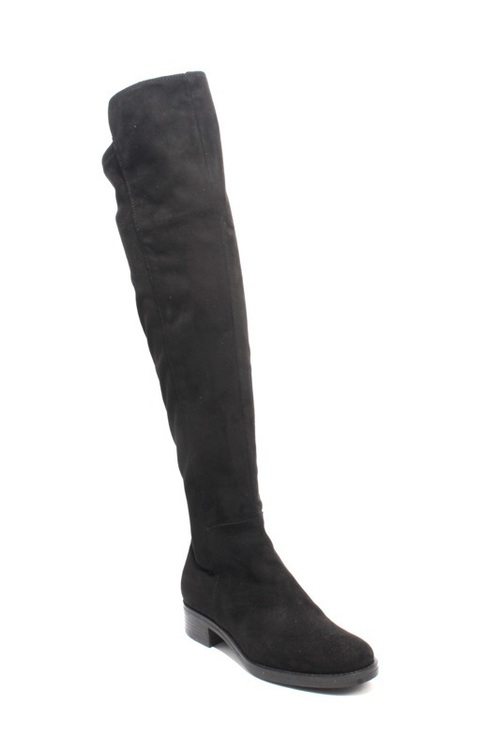 Black Suede / Stretch Over the Knee Boots