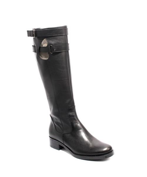Black Leather Knee-High / Zip-Up Buckle Heel Boots