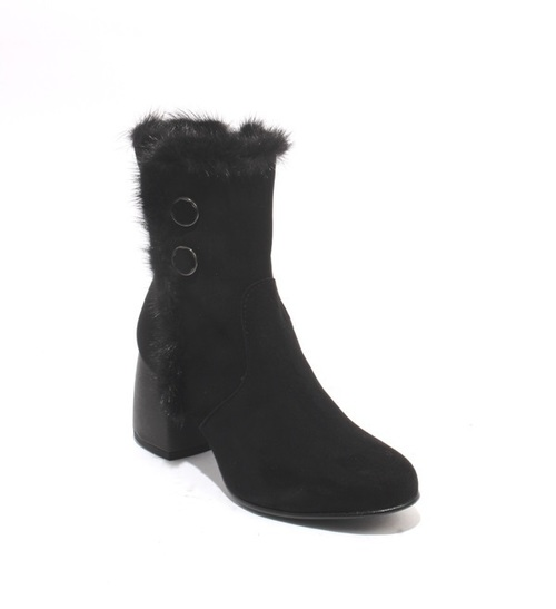 Black Suede / Fur Zip-Up Ankle Heel Boots