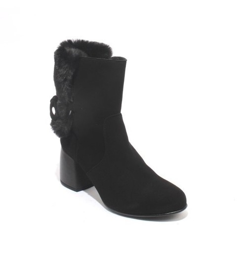 Black Suede / Faux Fur Zip-Up Ankle Heel Boots