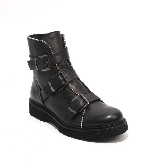 Black Leather Buckles Zip-Up Ankle Boots