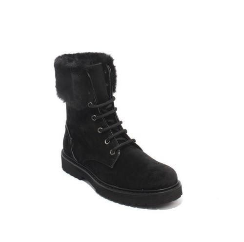 Black Suede / Faux Fur Lace-Up Ankle Boots