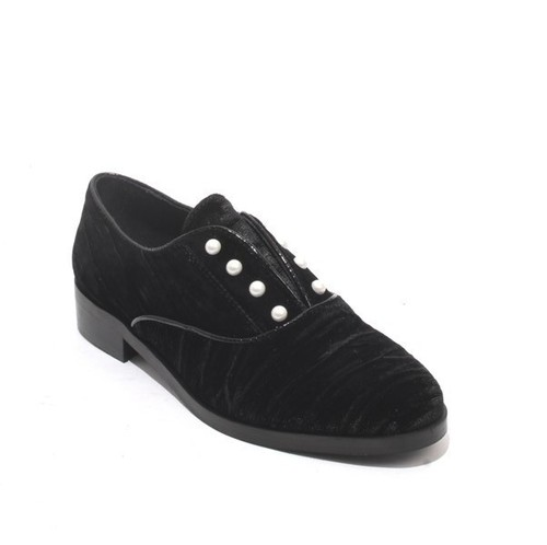 Black Velour / Patent Leather Oxfords Shoes