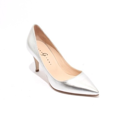 Silver Leather Pointy Heel Classics Pumps