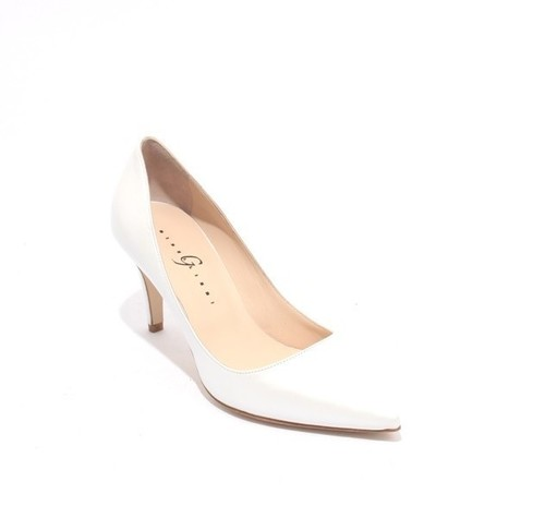 White Leather Pointy Heel Classics Pumps