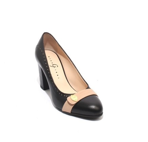 Black Beige Leather Elegant Classics Heel Pumps