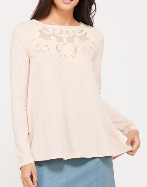 Front Crochet Detailed Long Sleeve Top