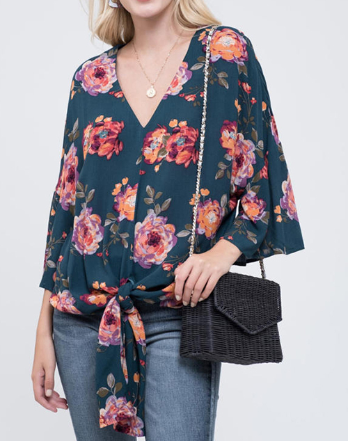 Short Sleeve Front Tie Floral Top
