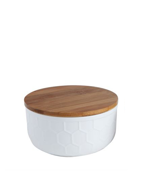 White Canister With Bamboo Lid - Large
