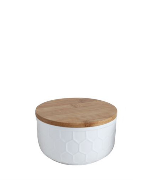 White Canister With Bamboo Lid - Medium