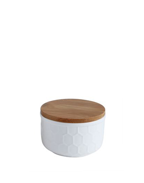 White Canisters With Bamboo Lid - Small