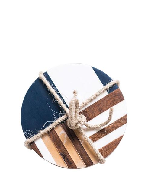 Round Resin & Wood Geometric Coasters