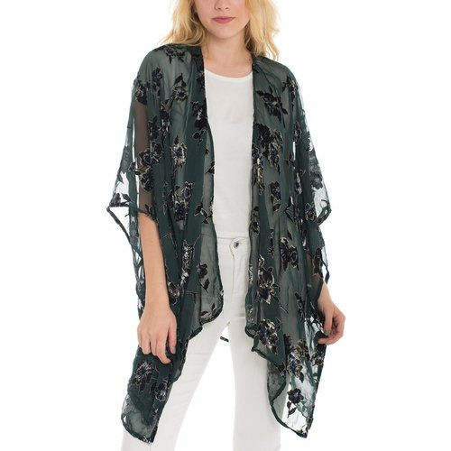 Hunter Green Velvet Floral Kaftan